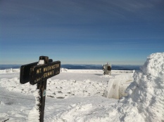 On top of windblasted Mount Washington. Isaiah's first Winter Summit!